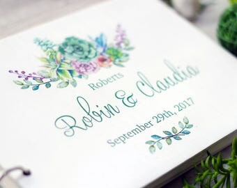 Succulent Wedding Guest Book Rustic guest book Personalized Guest Book Green Wedding floral Guestbook Wood Guestbook Custom Guestbook
