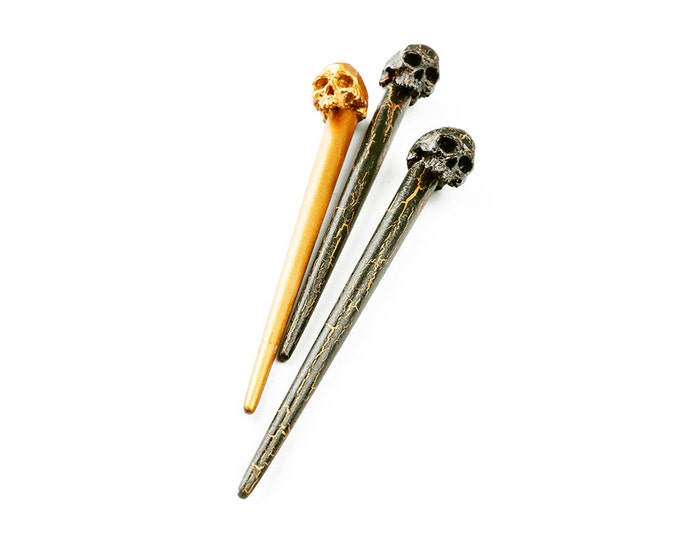 Hair pin set - skull hair pin - skull hairpin - goth hairpin - barrette - hairslide - hair accesories - skull jewelry - hair jewelry