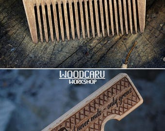 Wooden beard comb beard brush folding comb for men personalized beard comb wood comb men accessories gift for men 5 anniversary gift