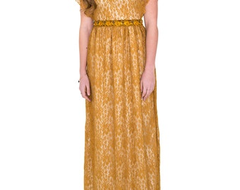 Mustard and Gold Lace Gown
