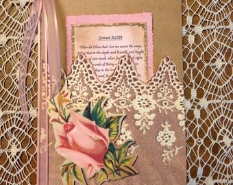 Handmade Greeting Card Wedding, Engagement, How do I love thee, Sonnet XLIII, romantic, lavish, keepsake, Elizabeth Barrett Browning