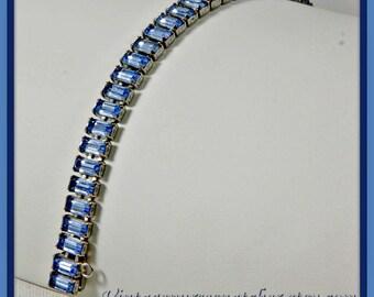 Vintage Rhinestone Bracelet,Vintage Blue Rhinestone Bracelet,Vintage Blue Baguette Rhinestone Bracelet,Vintage Rhinestone Jewelry,Jewellery