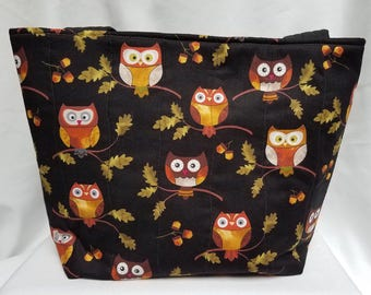 Tossed Owls Quilted Tote Bag