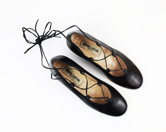Vintage Black Leather Lace Up Kitten Heel Ballet Flats size 37.5 or US Womens size 6.5/7