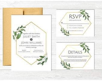 Modern Geometric Greenery Printable Wedding Suite