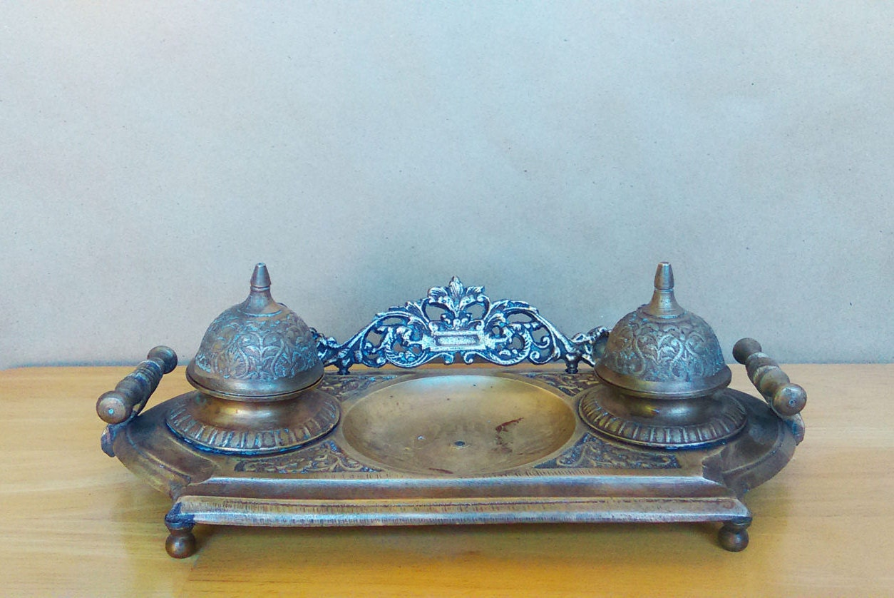 victorian office decor safari style vintage solid brass inkwell ornate double inkstand victorian style desk decoration office