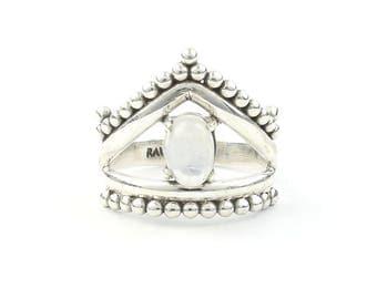 Moonstone Enchanted Ring, Sterling Silver Moonstone Ring, Rainbow Moonstone, Gemstone Jewelry, Boho, Gypsy, Wiccan, Hippie, Spiritual