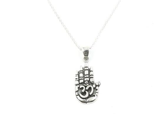 Sterling Silver Hand With OM Necklace, Hamsa, Namaste, Yoga Jewelry, Meditation, Spiritual, Boho, Gypsy, Festival, Hippie