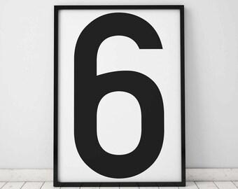 Number 6 Print, 6 Wall Art, Scandinavian Art, Scandinavian Poster, number 6 Poster, Number 6 Print, INSTANT DOWNLOAD