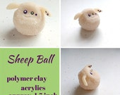 Sheep Ball - polymer clay figurine; creature; kawaii; chibi; approx. 1.5 inch