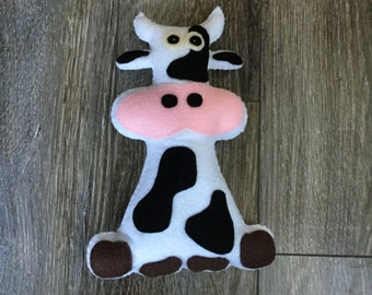 Daisy the cow, cow Plushie, cow stuffed toy.