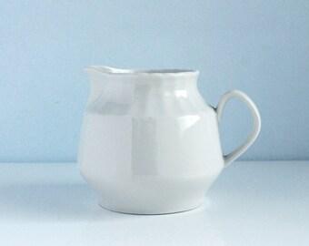 Solid White Porcelain Creamer , Vintage porcelain creamer , Ceramic 70's Milk Jug , excellent condition , china creamer , porcelain pitcher
