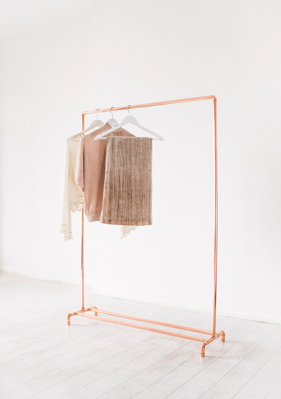 copper pipe clothing rail garment rack clothes storage. Black Bedroom Furniture Sets. Home Design Ideas