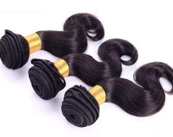 Unprocessed Virgin 5A Body Wave Peruvian 100% Human Hair Extensions 3 Bundles   HE1