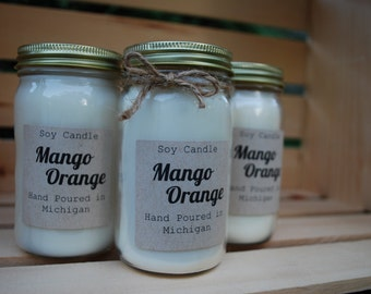 Mango Orange Hand Poured Scented Soy Candle 8oz Jar