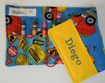 Personalized Crayon Roll - Construction Trucks, crayons INCLUDED, crayon roll-up, pencil case, 12+ crayons