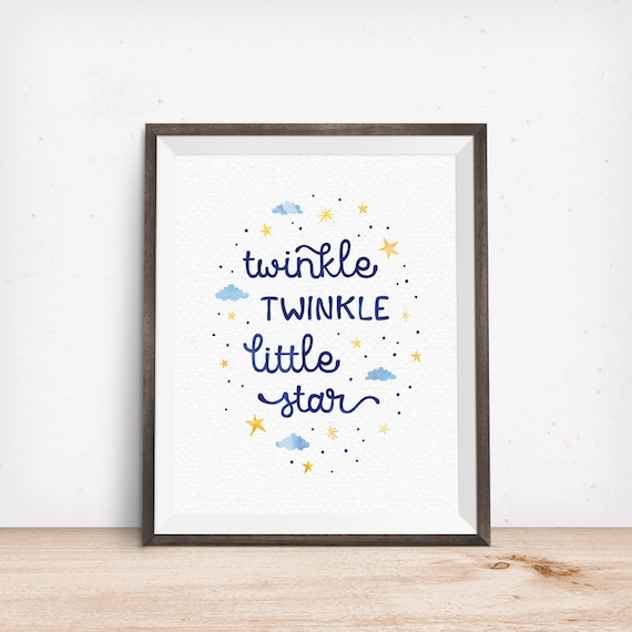 Printable Art, Bedroom Quote, Twinkle Twinkle Little Star, Nursery Rhyme Art, Kids, Typography Quote Art Prints, Digital Download Printable