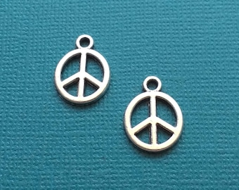 10 Peace Sign Charms Silver - CS2733