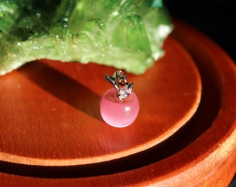 Pink Cat's Eye Sterling Silver Apple Charm Pendant
