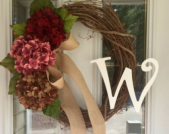 Year Round Wreath, Summer Wreath, Initial Wreath,  Hydrangea Wreath, All Season Wreath, Spring Wreath, Monogram Wreath, Floral Wreath