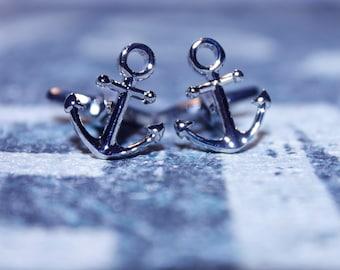 Cufflinks, Cuff links, Funny cufflinks, anchor cufflinks, Yacht cufflinks, Holidays cufflinks, 13 mm x 16 mm anchor  cufflinks