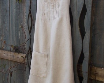 Up-cycled linen apron cafe style apron eco-friendly repurposed