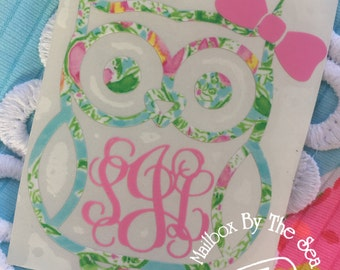 Lilly Pulitzer Inspired Owl Monogram Decal | Yeti Decal | Lilly Car Decal | Rtic Decal | Owl Decal | Car Decal | Owl Monogram | Preppy