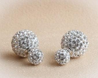 Double Ball Earrings, Double Sided Earrings,  Double Crystal Ball Earrings, Crystal Paved Double Sided Earrings, Crystal Ball Earrings