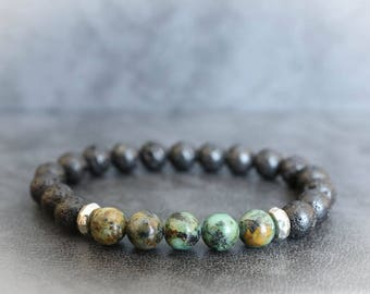 African Turquoise Bracelet Turquoise Bracelet Mens Turquoise Bracelet Mens Beaded Bracelet Lava Bracelet Mens Lava Bracelet