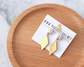 Gold Leaf White Clay Stud + Diamond Shape Brass Plate Dangle | Minimalist Polymer Clay Stud Earrings | Hypoallergenic Surgical Steel