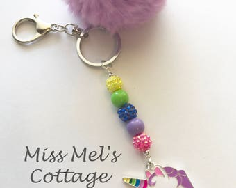 Rainbow Unicorn Pendant with fluffy pom and sparkling beads keychain/key fob/zipper pull charm