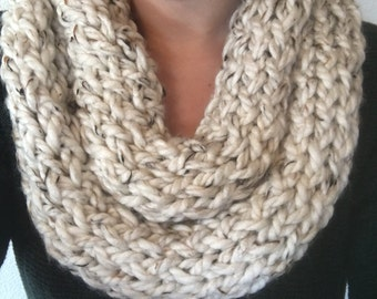 Thick scarf, cream scarf, infinity scarf, knit scarf, finger knit scarf, womens scarf, winter scarf, knit infinity scarf, crochet scarf