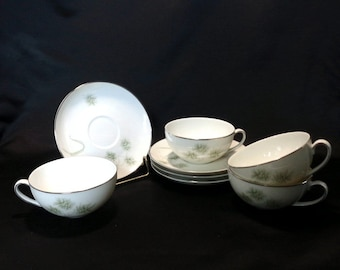 Free US Shipping, Vintage Vita Craft Greenbriar Pattern Round Coffee/Tea Cups and Saucers, Bavaria, Germany, Fine Westpoint China