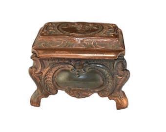 Antique German Jewelry Box - View Of Koblenz - Shabby Chic Trinket Box - Vintage Case