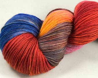 "Hand Dyed Sock Yarn, Superwash Wool & Nylon ""Poppy"""