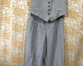 80s Petite Sophisticate Two Piece Vest Dress Pants Earth Tones Checker Suit