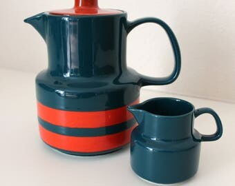 Vintage coffee pot teapot Creamer Melitta retro jug petrol Orange handpainted Germany