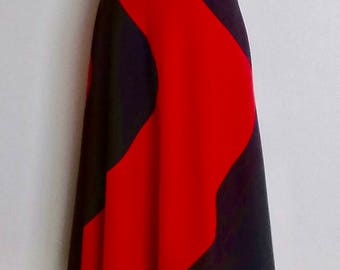 Free Shipping! 1970s Black and Red Glam Rock Maxi Skirt Small Size