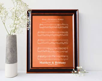 First dance song,  7th Anniversary Copper gift, 7 Years Together, 22nd anniversary gift, Music notes sheet - PA1010
