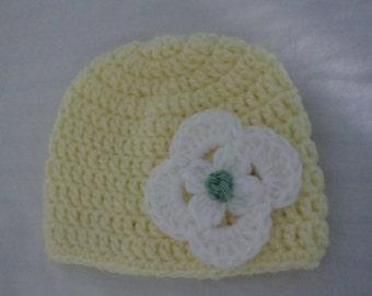 Yellow Baby Girl Hat, Baby Girl Hat, Yellow Hat, 6-12 mos Baby Girl Hat, 6-12 months Yellow Hat, Yellow Infant Hat, Infant Hat, Infant Cap