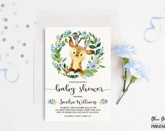 DEER BABY SHOWER Invitation. Little Buck Woodland Invitation. Blue Floral Baby Boy Invite. Wreath. Leaves. Modern Calligraphy Invite. DEER2