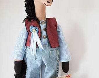 """RC608E   """"Wyatt the Horse"""" Cloth Animal Doll Sewing Pattern – PDF Download Doll Making Pattern"""
