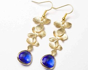 Floral Earrings. orchid earrings. Gold Cascade Earrings. Blue and gold earrings. Cobalt Blue earrings.
