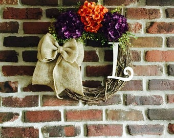 hydrangea monogram wreath-monogrammed wreath-rustic wreath-initial wreath-summer wreath-fall wreath-housewarming gift-wreaths