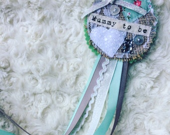Baby shower rosette - mummy to be -neutral mint and grey - personalised shabby chic