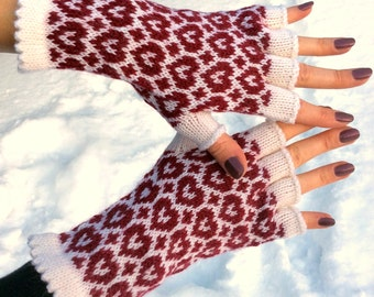 Alpaca wool gloves Half finger gloves Womens clothing red heart gloves white fingerless gloves valentines day gift|for|her valentines gift