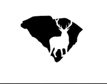 south carolina deer svg dxf jpeg png file stencil monogram frame silhouette cameo cricut clip art commercial use