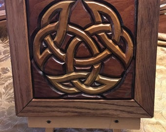 Hand-Carved Wood Intarsia Wall Art Celtic Tricorn Knot