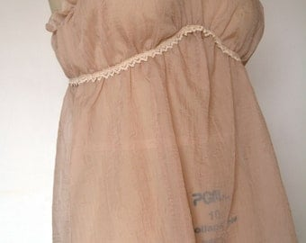 Sheer blush lingerie, empire waist camisole, lace straps, sheer tank top camisole, feminine pajamas