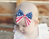 American Flag Elle Sailor bow - Baby Headband - Red White Blue Cotton Newborn Hair Bow - Toddler Hair clip - Headband-Alligator Clip
